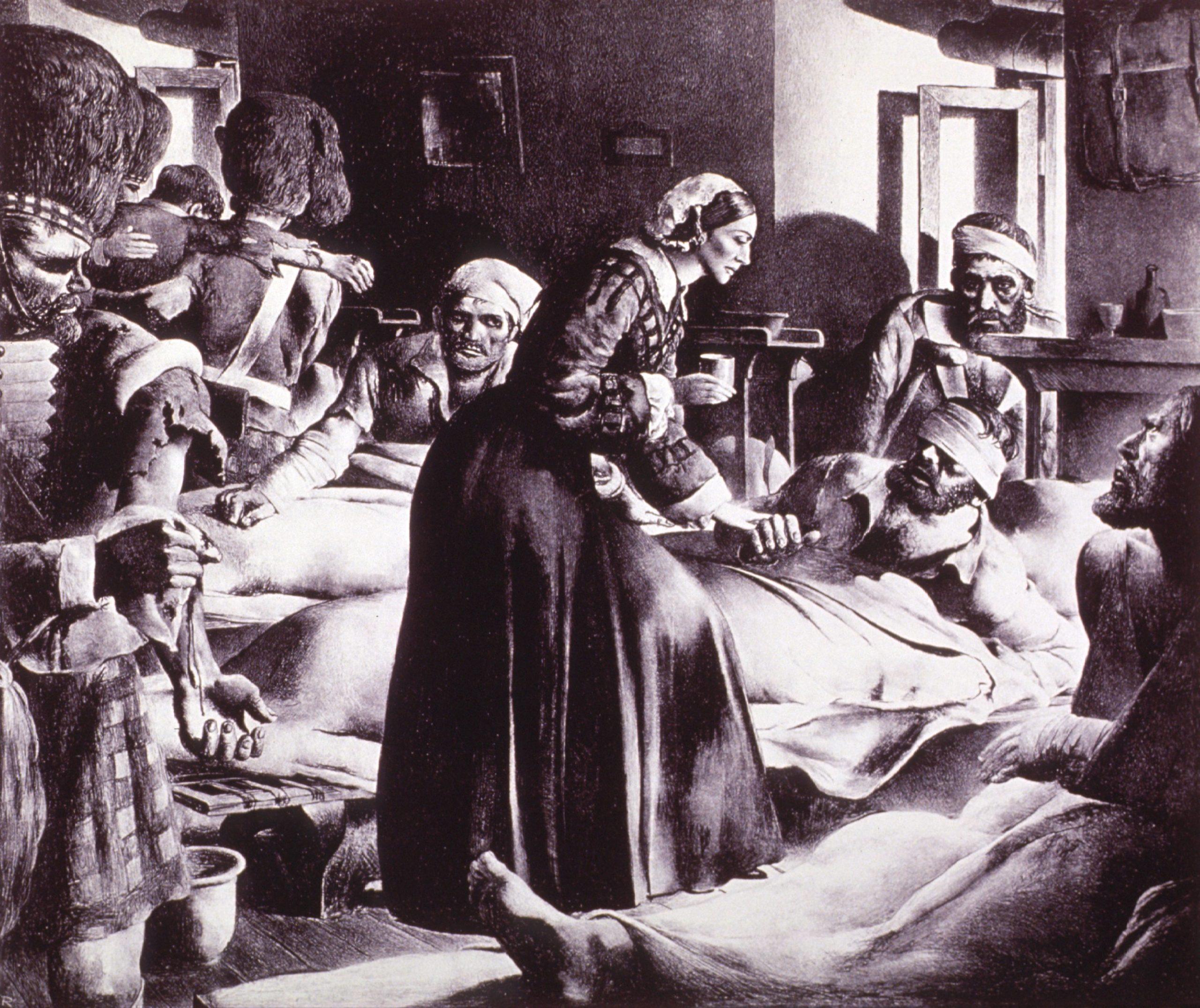 Florence Nightingale pleier sårede soldater. Foto: National Library of Medicine #b029443