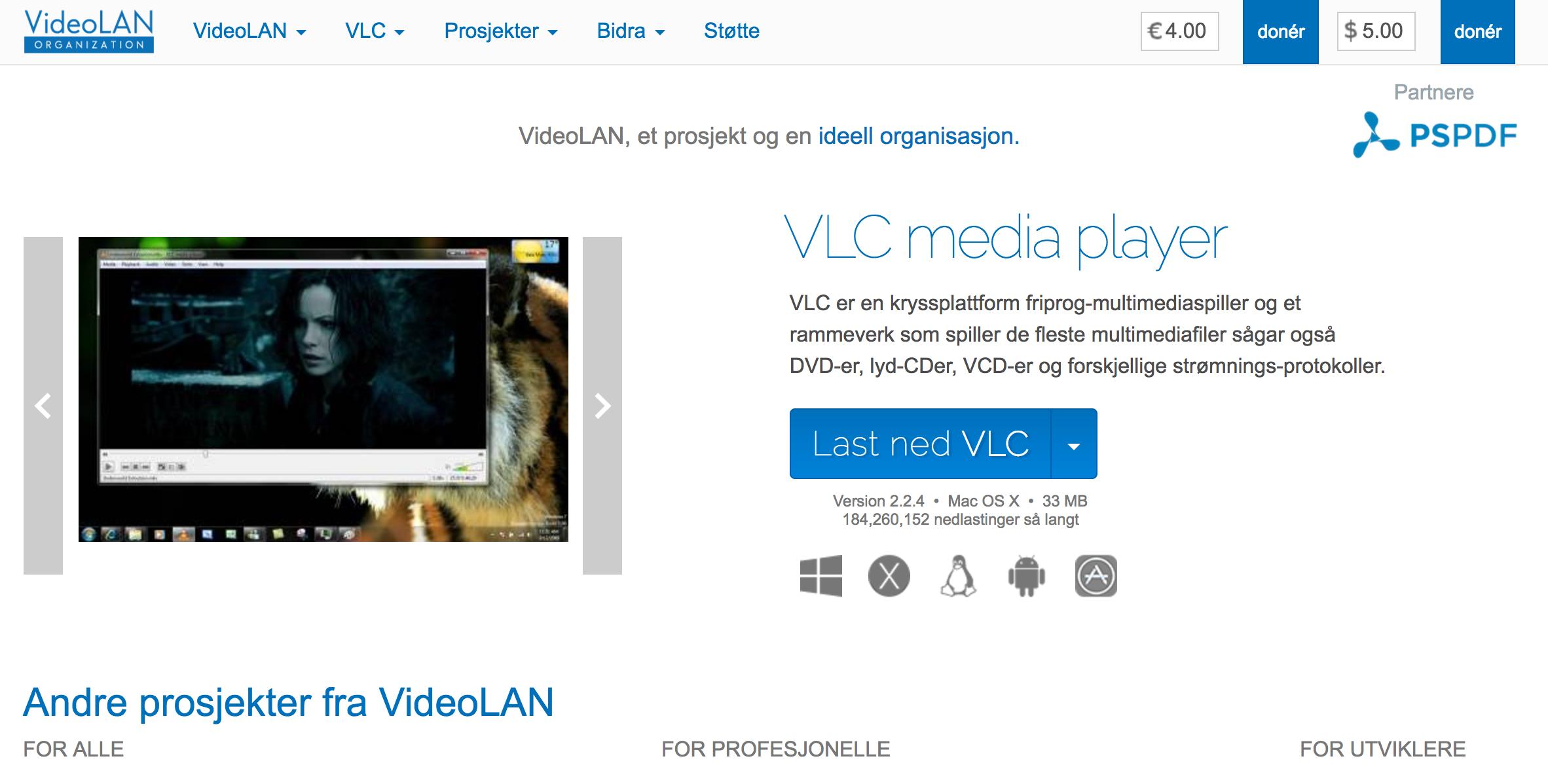 Skjermbilde fra hjemmesiden til Videolan VLC.