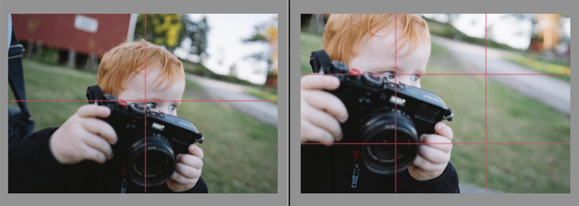 1/3-regelen brukt på portretter. Barn som ser utover i bildet.