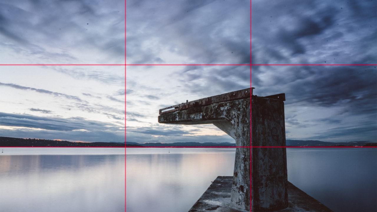 Bildet som er del i tredeler og som viser visuelt tredelsregelen.